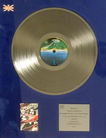 Status Quo: a 'Silver' sales award for the album 'Status Quo Live', 1977,