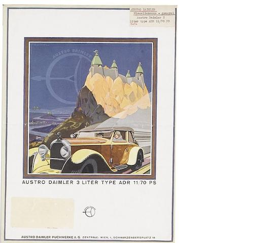 A collection of Austro Daimler ephemera