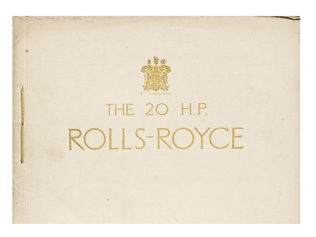 The Twenty H.P. Six Cylinder Rolls-Royce sales catalogue, October 10 1927,