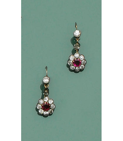 A pair of late 19th century ruby and diamond cluster earpendants