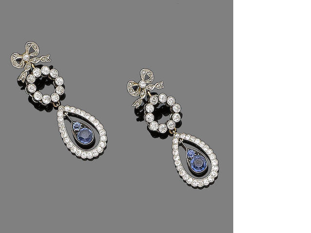 A pair of sapphire and diamond pendent earrings,