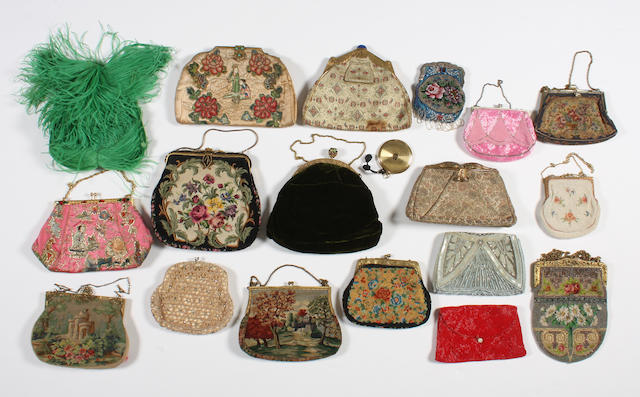 A group of eighteen evening bags