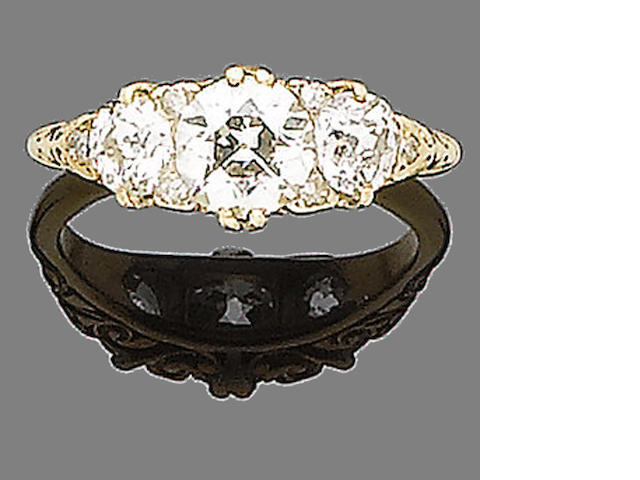 A late 19th century diamond three-stone ring