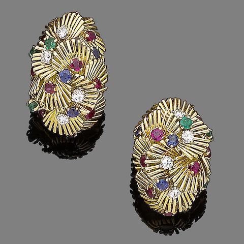 A pair of multi gem-set earclips, by Van Cleef & Arpels
