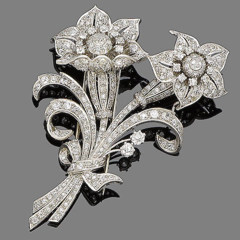 A diamond floral spray brooch,