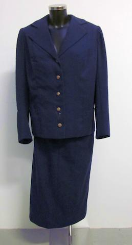 Ingrid Bergman from A Woman Called Golda,  1982, A blue wool two piece skirt suit,