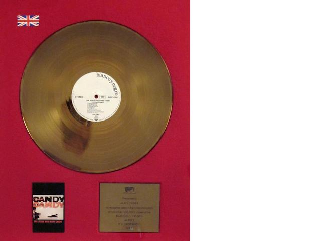 A 'Gold' sales award for the album 'Psychocandy' by The Jesus And Mary Chain, 1985,