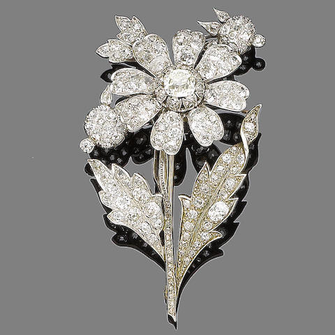 A diamond flower brooch,
