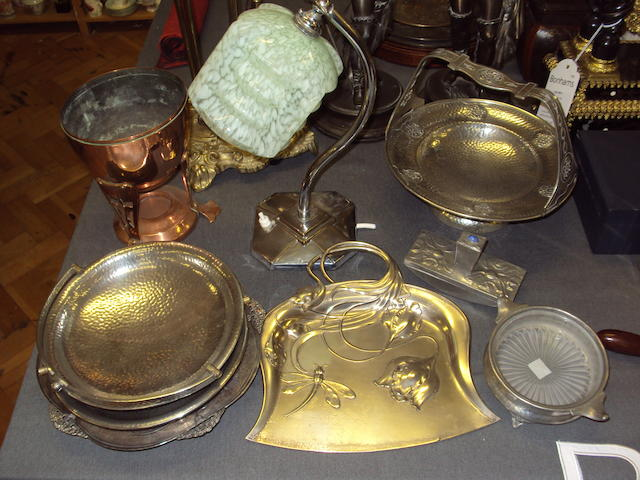 A collection of Art Nouveau and Art Deco metalwares