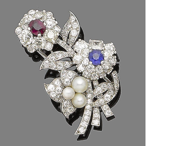 A ruby, sapphire, cultured pearl and diamond flower brooch,