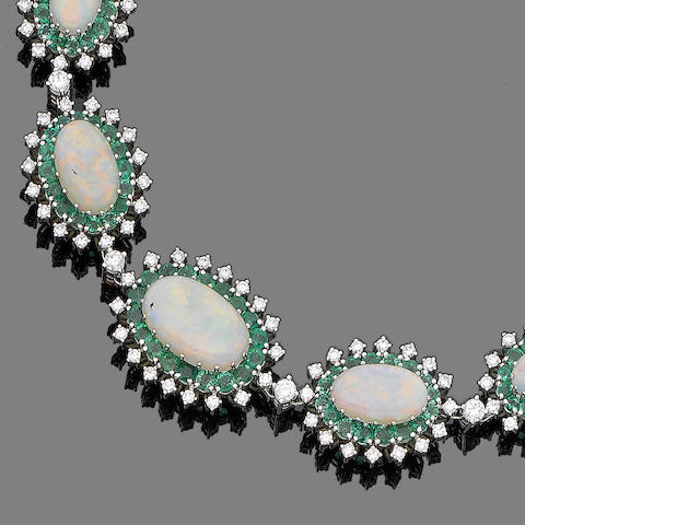 An opal, emerald and diamond necklace, bracelet and watch suite, watch by Chopard (3)