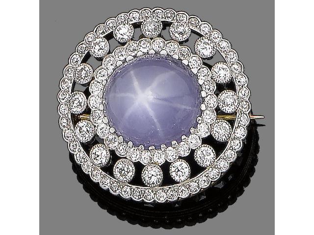 A star sapphire and diamond brooch/pendant,