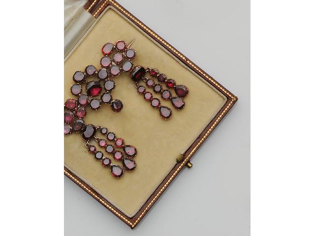 A closed back garnet brooch