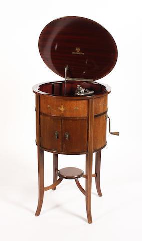 An Academy circular Sheriton style cabinet gramophone, circa 1925,