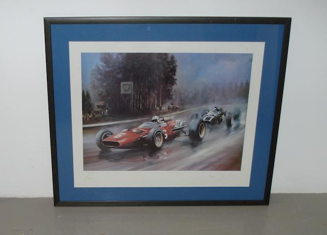 A signed limited edition colour print after Dion Pears,