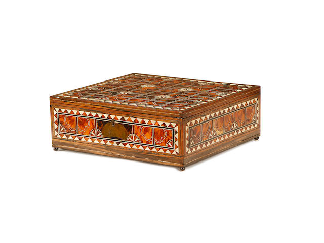 A 19th century Indo-Portuguese tortoiseshell and ivory mounted dressing box