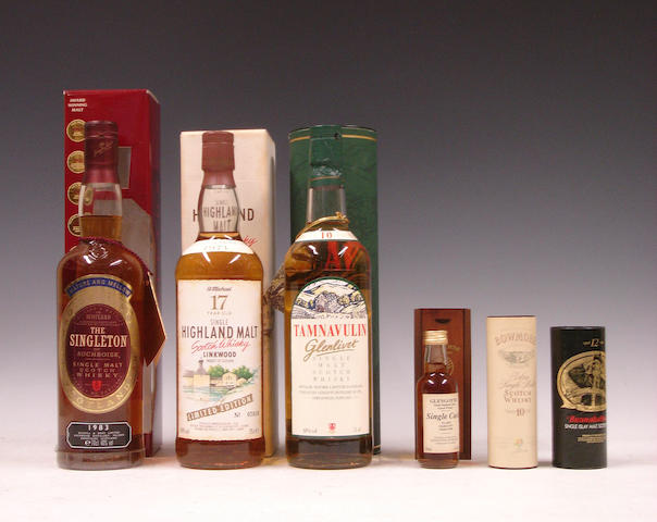 The Singleton of Auchroisk-1983  Linkwood-17 year old-Pre 1971  Tamnavulin-Glenlivet-10 year old  Miniatures comprising: