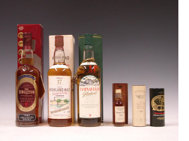 The Singleton of Auchroisk-1983Linkwood-17 year old-Pre 1971Tamnavulin-Glenlivet-10 year oldMiniatures comprising: