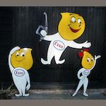 A set of three hand-painted cut-out Esso figures,