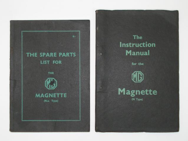 An Instruction Book and a Spare Parts list for MG Magnette,
