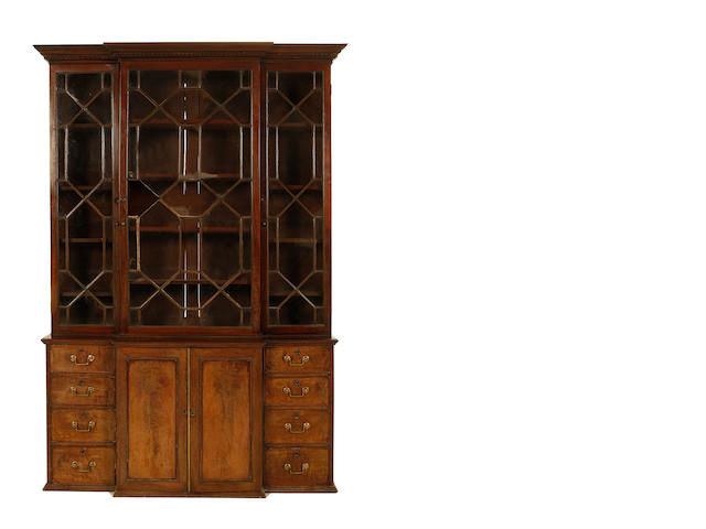 A small George III mahogany breakfront library bookcase