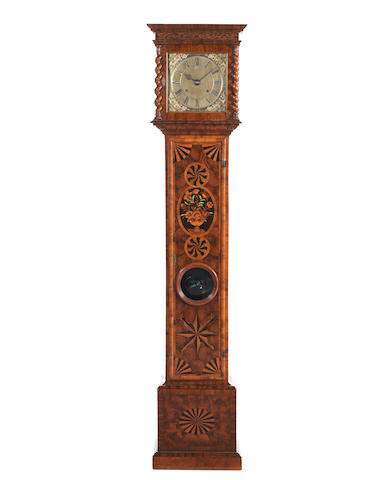 A rare late 17th century walnut and marquetry inlaid longcase clock of one month duration and with ten inch skeletonised dial.  Previously in the Wetherfield Collection of Clocks. Joseph Knibb, London