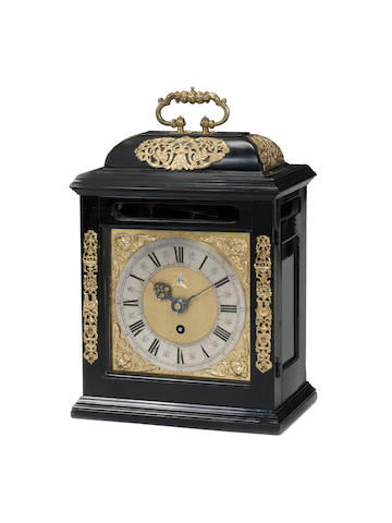 A third quarter of the 17th century ebony bracket timepiece with pull quarter repeat John Knibb, Oxford
