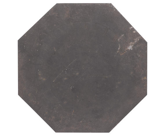 An octagonal slate sundial, English,  early 19th century,