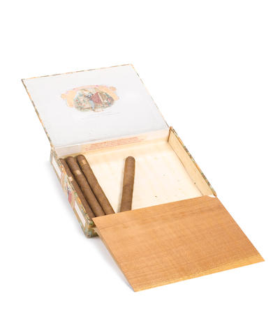 A cigar box containing four Romeo y Julieta Cuban cigars belonging to Sir Winston Churchill