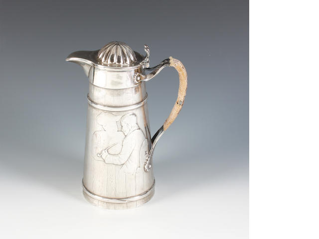 A late 19th/early 20th century American  silver water or beer jug By Theodore B. Starr, stamped 'Sterling', numbered '1335'