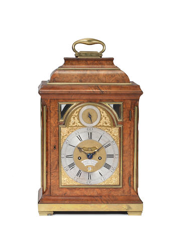 A second quarter of the 18th century walnut bracket clock William Webster, Exchange Alley, London