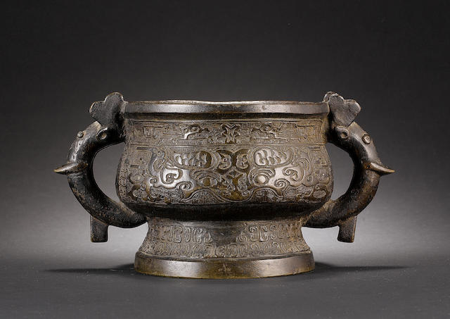 A bronze guei, Ming/Qing Dynasty,
