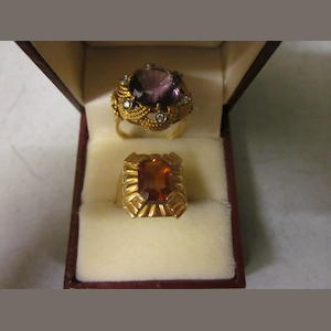 An amethyst and diamond dress ring,  (2)