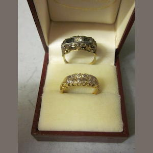 A two row diamond set ring