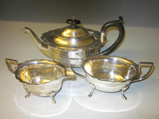 A three piece tea service, Birmingham 1931, marks rubbed  (3)