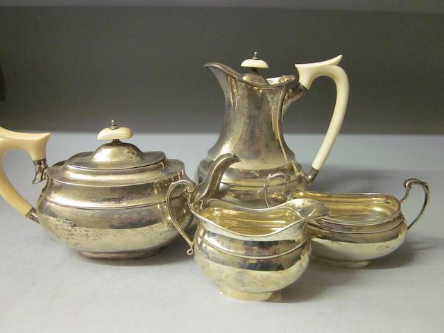 A four piece tea service, by E Viner, Sheffield 1933,  (4)