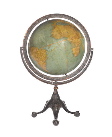 A 20-inch Rand McNally & Co terrestrial globe on stand,  American, circa 1900,