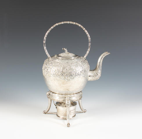 A late 19th/early 20th century Chinese Export silver tea kettle with stand and burner With Oriental character marks,