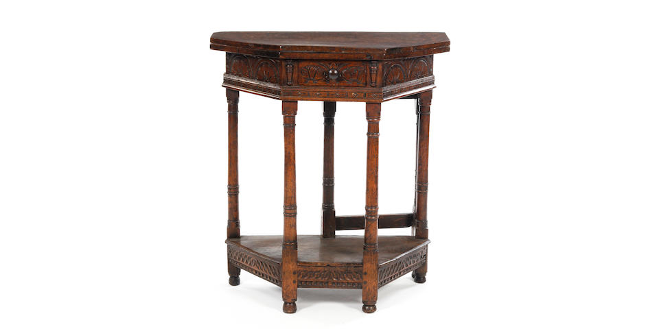 A fine Charles I oak folding or credence-type table Salisbury, of upright slender proportions