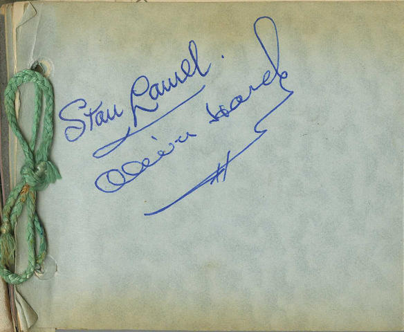 An autograph book containing the signatures of Laurel and Hardy, 1940s-1950s,