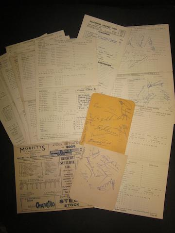 A collection of signed/unsigned cricket scorecards