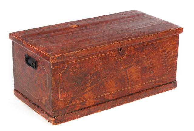 A 19th century scumbled pine chest