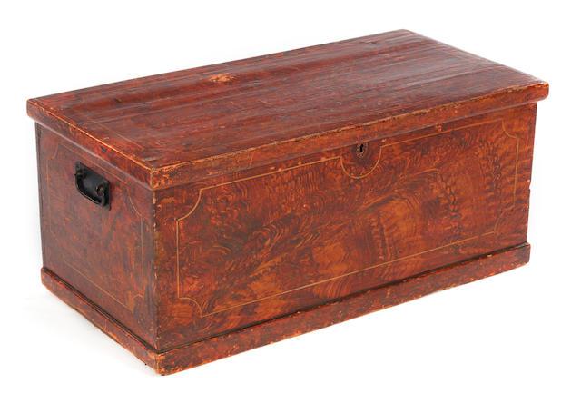 A scumbled pine chest.
