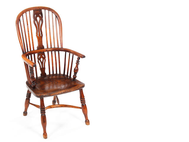 A yew wood Windsor chair.