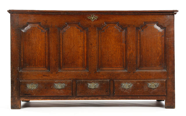 A George II oak mule chest