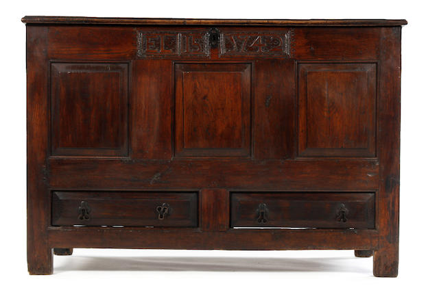 A George II oak mule chest, dated