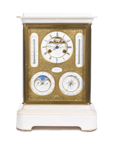 A fine mid 19th century gilt brass and marble four glass perpetual calendar mantel clock with centre seconds indication, moonphase, barometer and thermometers Lister & Sons, Newcastle
