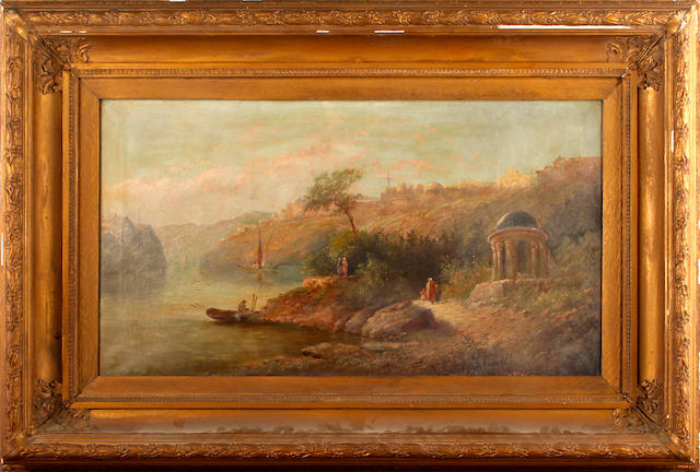 Follower of James Baker Pyne (British, 1800-1870) Romantic Eastern river scene