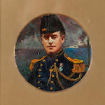 George Leslie Hunter (British, 1877-1931) Portrait vignette of a gentleman in period costume 14 cm. diameter