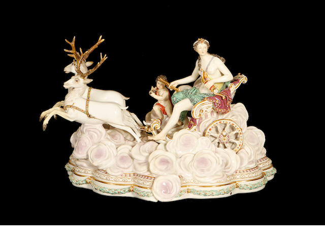 A large late 19th century Meissen group of Diana the Huntress modelled by Kandler